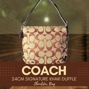 COACH 24cm SIGNATURE KHAKI DUFFLE